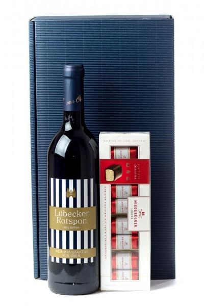 3er Geschenk Set Lübecker Rotspon Wein und Marzipan