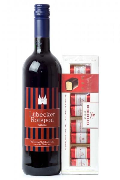 1er Geschenk Set Lübecker Rotspon Wein und Marzipan